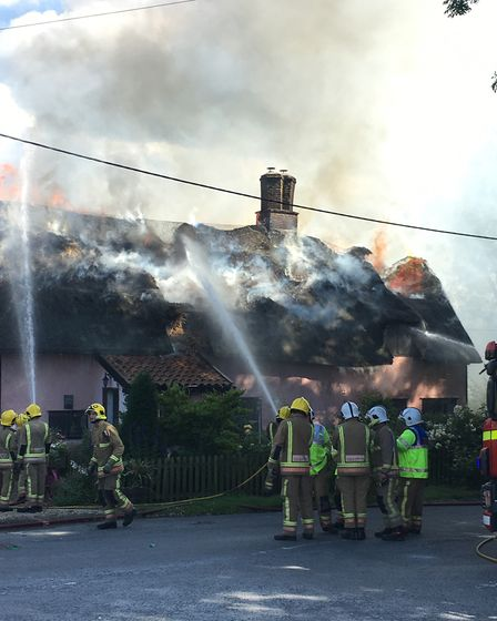 More than 70 firefighters tackled the blaze at Yeoman's Cottage in Rockland All Saints. Picture: Kar
