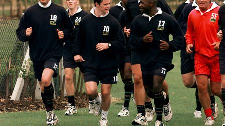 Pre-season training at the UEA Sports Ground - Iwan Roberts is second from right Picture: Archant