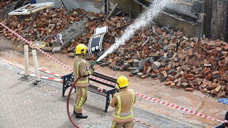 The aftermath of a major fire which has destroyed the Regent Road bowling alley and indoor market in