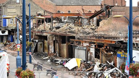 The aftermath of a major fire which has destroyed the Regent Road superbowl and indoor market in the