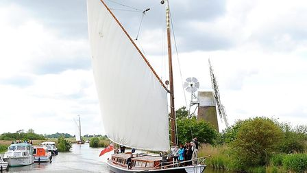 Wherry Yacht Charter Charitable Trust's Hathor at How Hill.Picture: James Bass