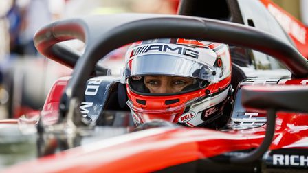 The concentration is evident in George Russell's eyes as the Norfolk racer gets ready to set a quali