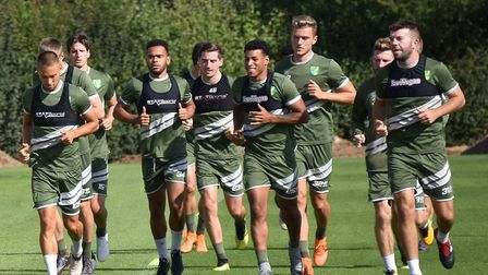 Grant Hanley, far right, in training at Colney with his City team-mates earlier this week Picture: A