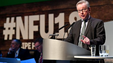 Environment secretary Michael Gove speaking at the 2018 NFU Conference. Picture by Simon Hadley.