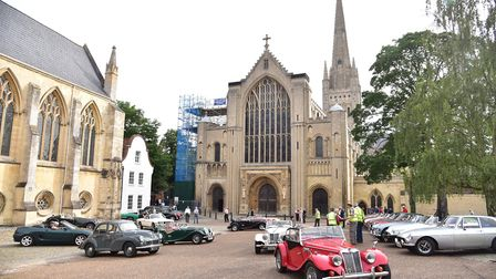 The 8th Norfolk Open Churches Classic Car Run at Norwich Cathedral.Photo: Sonya Duncan