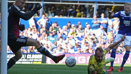 Jordan Rhodes was denied from point blank range in the second half at Birmingham Picture: Paul Chest