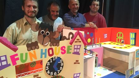 Ian Harding (far left), from King's Lynn, creator of the Zey the Mouse stop motion films, at an exhb