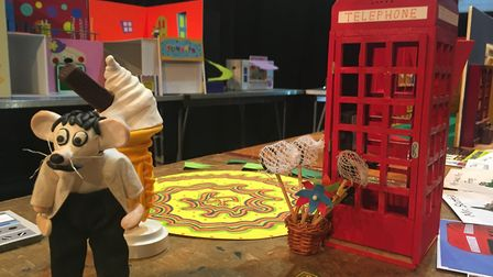 A model from the Zey the Mouse stop motion films created by Ian Harding, from King's Lynn, at an exh