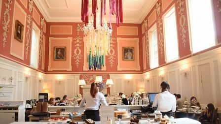 The School of Magic house colours on the chandeliers for the afternoon tea at the Assembly House. Pi