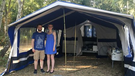 My nephew Phil and fiancee Lauren helped me set the tent up, and I thought we were in for a peaceful