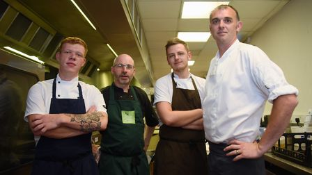 Chefs from left, Charlie Wilson, Chris Avey, Daniel Freear, and Jeremy Park, taking part in the Chef