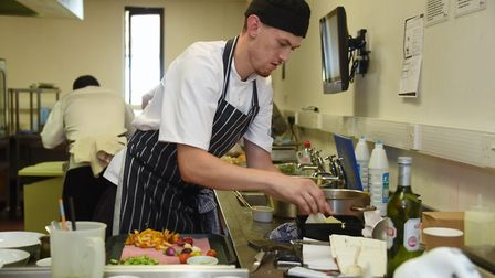 Chef Matthew Lovatt, from the Assembly House, at work during the Chef of the Year competition for th