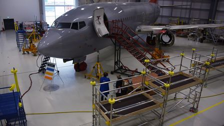 An 737 aircraft in the practical area where degree students work on maintenance at the International