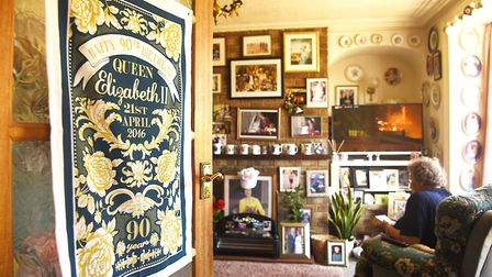 Mary Relph's front room is full of photographs and memorabilia of the Royal family. Picture: Ian Bur