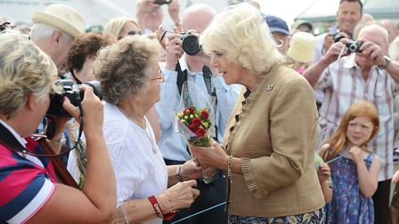 The Duchess of Cornwall chats with Royal watcher Mary Relph. Picture: Ian Burt