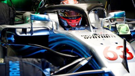 George Russell about to set off in the Mercedes AMG Petronas W09 EQ Power+ in which he set the faste