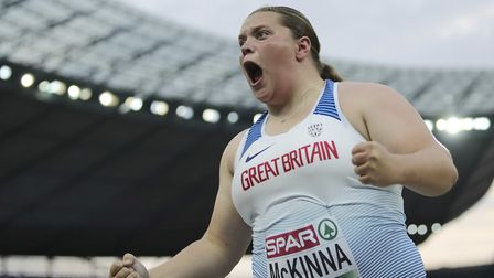 Britain's Sophie McKinna celebrates after an attempt in the women's shot put final at the European A