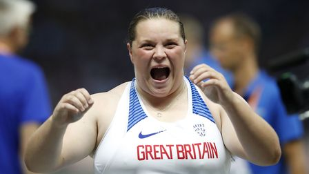 Great Britain's Sophie McKinna reacts in the Women's Shot Put Final during day two of the 2018 Europ