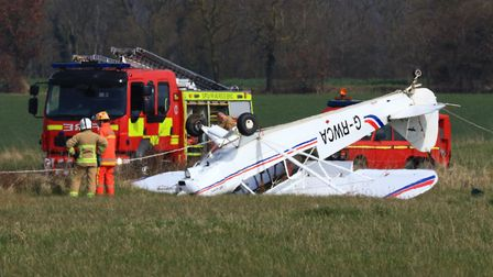 A light aircraft crashed at Beccles Airfield. Photo: Paul Cossey
