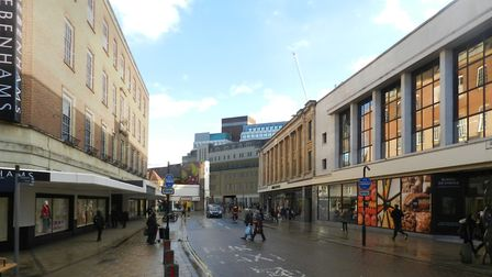 Computerised image showing how Westlegate could look from the Rampant Horse Street. Picture; Ingleto