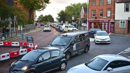 Norwich rush hour traffic chaos. Ber Street, Golden Ball Street and All Saints Green roundabout.Pict