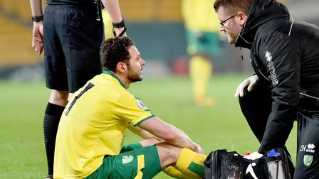 Matt Jarvis lasted 20 minutes of an attempted injury comeback with the U23s at Carrow Road in March