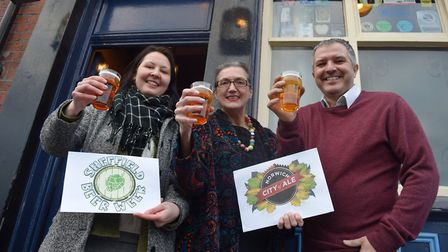 Jules Gray of Sheffield Beer Week, Dawn Leeder and Phil Cutter of Norwich City of Ale. Picture: Red