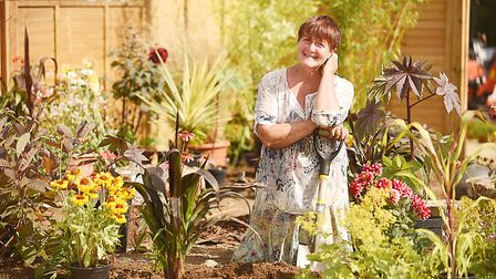 Hilary-Fay Mellor in her garden Coming Home. Picture: Ian Burt