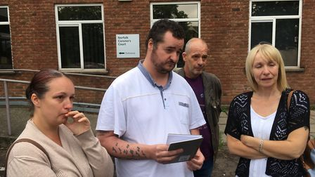 The family of Daniel Timbers outside Norfolk Coroner's Court. Picture: Dominic Gilbert