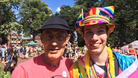 Rodney Turner (left) and his son Adam Turner, from Hingham, were among the people enjoying Norwich P