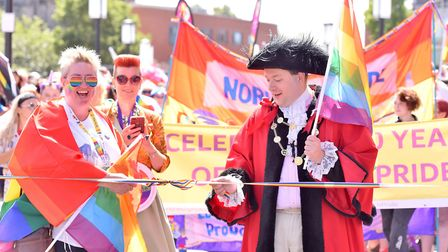 Lord Mayor of Norwich Martin Schmierer officially starts the 10th Norwich Pride Parade.Picture: Nic