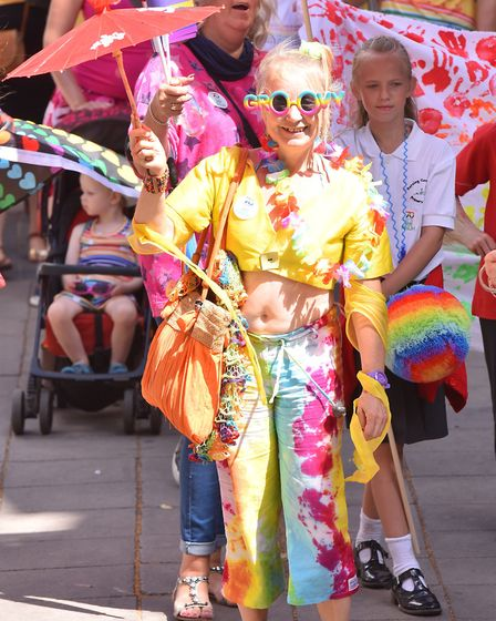 Thousands of people enjoying the 10th Norwich Pride Parade.Picture: Nick Butcher