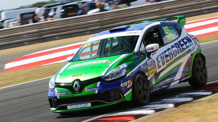 Dereham racer Dan Zelos displaying his new Evergreen Tyres livery on his way to a season's best four
