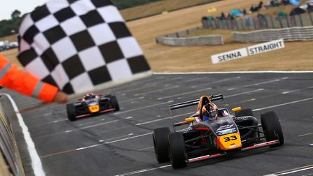Jack Doohan takes the chequered flag ahead of team-mate Dennis Hauger to secure an Arden and Red Bul