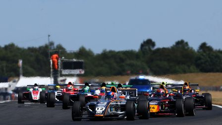 Ayton Simmons leads Dennis Hauger and the rest of the field at the start of the opening F4 British C