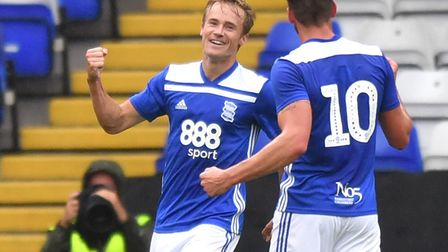 Birmingham City's Maikel Kieftenbeld celebrates scoring his side's first goal of the game during the