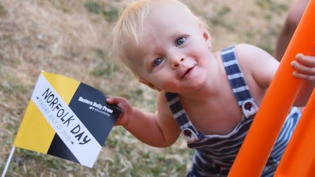 Noah Coleman, 16-months-old, enjoying Norfolk Day at Norwich Cathedral. Picture: DENISE BRADLEY
