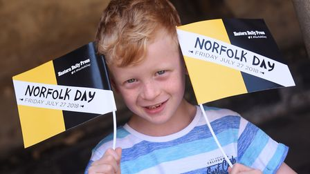 Owen Smith, aged seven, enjoying Norfolk Day at Norwich Cathedral. Picture: DENISE BRADLEY