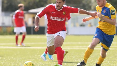 Danny Crow, pictured in action for Mildenhall last season, has joined Norwich United Picture: RICHAR