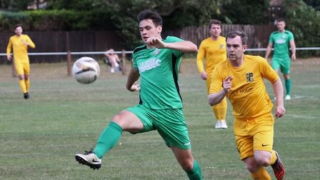 Action from the friendly match between Waveney and Gorleston.