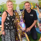 The GoGoCreate leaping leverets at intu Chapelfield, with Peter Marron, GoGoCreate co-ordinator, wit