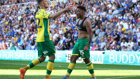 Onel Hernandez of Norwich celebrates scoring his sides 1st goal during the Sky Bet Championship matc