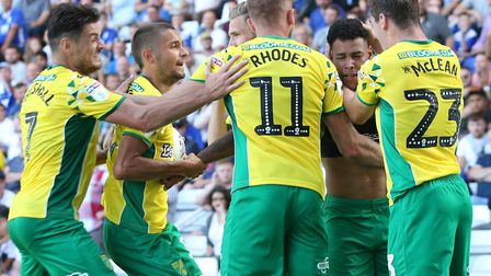 The Canaries players celebrate Onel Hernandez making the score 1-1 at St Andrew's Picture: Paul Ches
