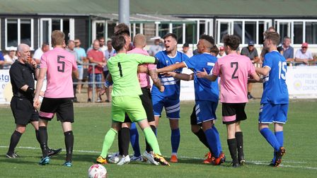 Action from Kirkley & Pakefield's 2-1 defeat against Brantham Athletic. Picture: Bryan Grint