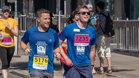 Edward Bates (right), and his guide Kelvin, as they made their way around the Run Norwich 2018 cours