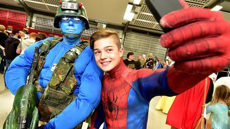 Nor-Con at Norfolk Showground. Josh Bradley, 12, gets a selfie with Paul Taylor who is dressed as Ro