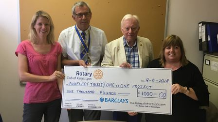 The Rotary Club of King's Lynn have donated £1,000 to the One to One Project and the Purfleet Trust