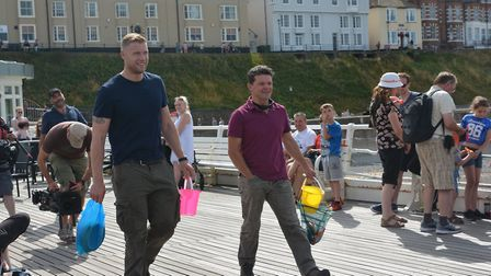 Freddie Flintoff and TV co-star Rob Penn on Cromer Pier. Picture: DAVE 'HUBBA' ROBERTS