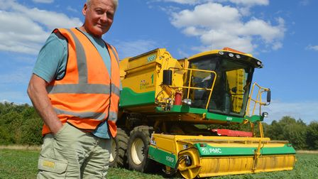 Veteran Norfolk farmer Terry Lines has celebrated completing his 50th pea harvest. Picture: Chris Hi