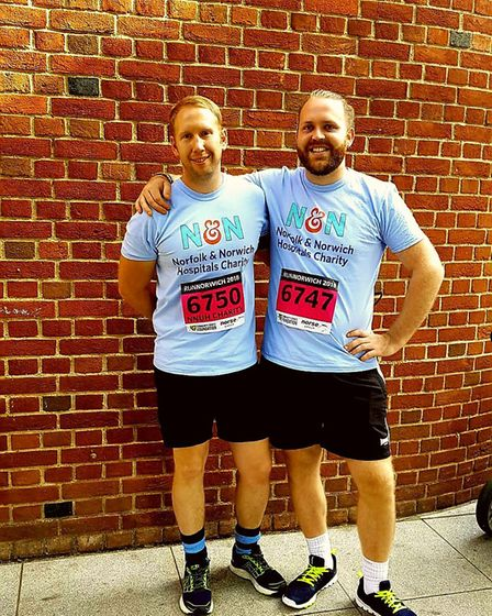 NNUH Fire Officer Karl Appleton with fellow runner Max. Photo: NNUH